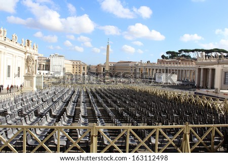 St Peters Square, Chairs for Mass - stock photo