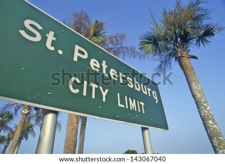 St. Petersburg City Limit sign in St. Petersburg, Florida - stock photo