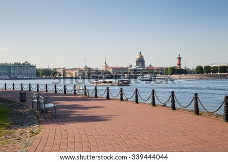 St. Petersburg. City view and tour boats on the Neva - stock photo