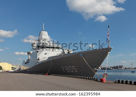 ST.-PETERSBURG - JUL 03: The Frigate of the Royal Netherlands Navy Evertsen on International maritime defence show (IMDS-2013) on Jul 03, 2013 at Lenexpo exhibition complex in St.-Petersburg, Russia