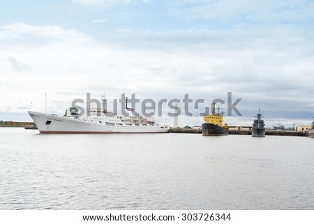 St. Petersburg, Kronshtadt, Russia, July 12, 2015. Ships in the port of Kronstadt.