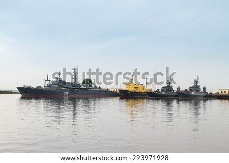 St. Petersburg, Kronshtadt, Russia, June 14, 2015. Ships in the port of Kronstadt.
