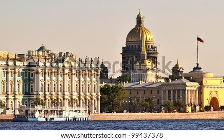 St.Petersburg landmarks hermitage, admiralty and cathedral with Neva River - stock photo