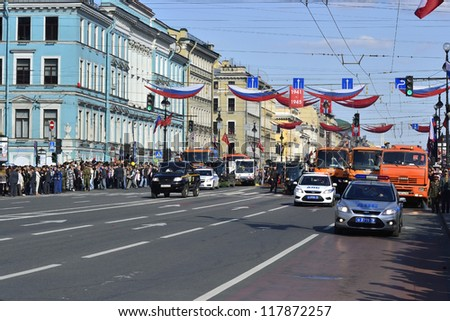 ST.PETERSBURG - MAY 9: Victory Day. View of the Nevsky Prospect before the parade in honor of 67 anniversary of the victory, May 9, 2012 in St.Petersburg, Russia.