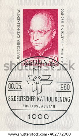 ST. PETERSBURG, RUSSIA - APR 8, 2016: A first day of issue postmark printed in Berlin, Germany, shows portrait of Cardinal Count Preysing (1880-1950). German Catholics Day, circa 1980 - stock photo