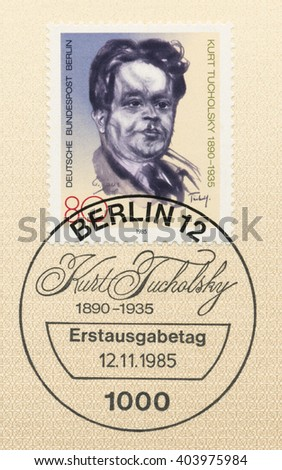 ST. PETERSBURG, RUSSIA - APR 10, 2016: A first day of issue postmark printed in Berlin, Germany, shows portrait, Kurt Tucholsky (1890-1935), Novelist, Journalist, circa 1985