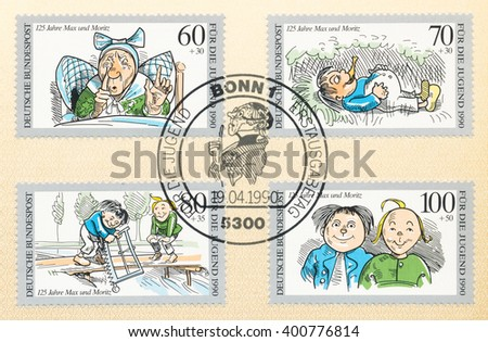 ST. PETERSBURG, RUSSIA - APR 4, 2016: A first day of issue postmark printed in Bonn, Germany, shows Widow Bolte,  Max and Moritz, by Wilhelm Busch, 125th Anniv., circa 1990 - stock photo