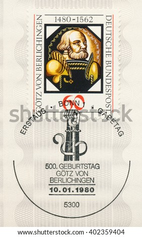 ST. PETERSBURG, RUSSIA - APR 7, 2016: A first day of issue postmark printed in Bonn, Germany, shows Gotz von Berlichingen (1480-1562), knight, Painting on Glass, circa 1980 - stock photo