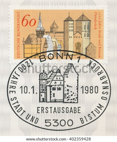 ST. PETERSBURG, RUSSIA - APR 7, 2016: A first day of issue postmark printed in Bonn, Germany, shows Osnabruck, 1200th Anniversary, circa 1980 - stock photo