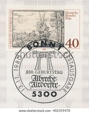 ST. PETERSBURG, RUSSIA - APR 7, 2016: A first day of issue postmark printed in Bonn, Germany, shows Landscape with Fir Trees, by Albrecht Altdorfer (1480-1538), painter and engraver, circa 1980 - stock photo