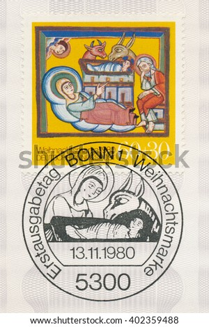 ST. PETERSBURG, RUSSIA - APR 7, 2016: A first day of issue postmark printed in Bonn, Germany, shows Nativity, Altomunster Manuscript, 12th Century, circa 1980 - stock photo