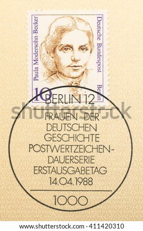 ST. PETERSBURG, RUSSIA - APR 25, 2016: A first day of issue postmark printed in Germany, shows portrait of Paula Modersohn-Becker (1876-1907), painter, circa 1988 - stock photo