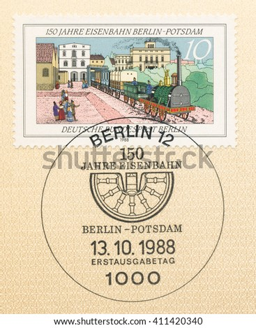 ST. PETERSBURG, RUSSIA - APR 25, 2016: A first day of issue postmark printed in Germany, shows Berlin-Potsdam Railway, 150th Anniv., circa 1988 - stock photo