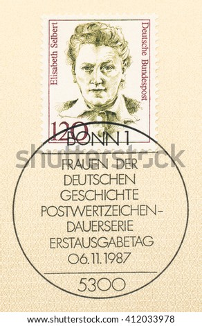 ST. PETERSBURG, RUSSIA - APR 27, 2016: A first day of issue postmark printed in Germany, shows portrait of Elisabeth Selbert (1896-1986), politician, circa 1987 - stock photo
