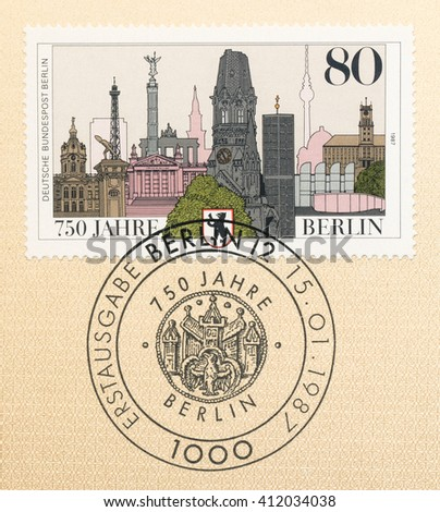 ST. PETERSBURG, RUSSIA - APR 27, 2016: A first day of issue postmark printed in Germany, shows Berlin, 750th Anniv., circa 1987 - stock photo