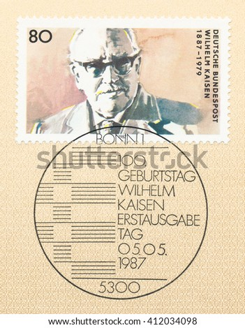 ST. PETERSBURG, RUSSIA - APR 27, 2016: A first day of issue postmark printed in Germany, shows portrait of Wilhelm Kaisen (1887-1979), Bremen City Senate President, circa 1987 - stock photo