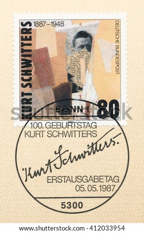 ST. PETERSBURG, RUSSIA - APR 27, 2016: A first day of issue postmark printed in Germany, shows Kurt Schwitters (1887-1948), Artist, circa 1987 - stock photo