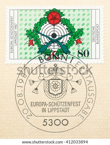 ST. PETERSBURG, RUSSIA - APR 27, 2016: A first day of issue postmark printed in Germany, shows 7th European Riflemans Festival, Lippstadt, Sept. 12-13, circa 1987 - stock photo