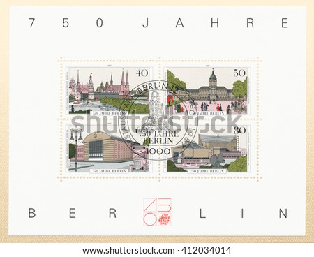 ST. PETERSBURG, RUSSIA - APR 27, 2016: A postmark Germany, shows Berlin. 1650 engraving by Caspar Merian. Charlottenburg Castle 1830. AEG Company by Walter Behrens 1909. Philharmonic Hall, circa 1987 - stock photo