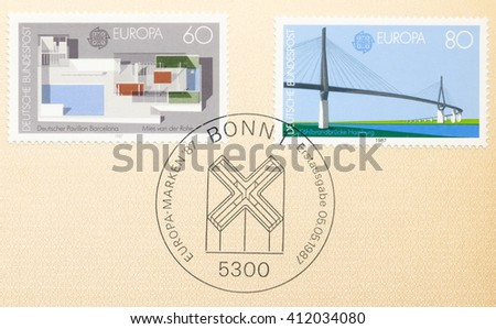 ST. PETERSBURG, RUSSIA - APR 27, 2016: A postmark Germany, shows Paviltineion designed by Ludwig Mies Fair, Barcelona. Kohlbrand Bridge, Hamburg, designed by Thyssen Engineering, circa 1987 - stock photo