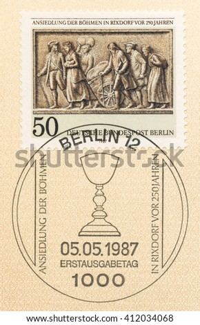 ST. PETERSBURG, RUSSIA - APR 27, 2016: A postmark Germany, shows Settlement of Bohemians at Rixdorf, 250th Anniv. Bohemian refugees, detail from monument to King Wilhelm I of Prussia 1912, circa 1987 - stock photo