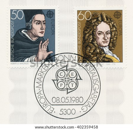 ST. PETERSBURG, RUSSIA - APR 7, 2016: A postmark printed in Germany, shows Albertus Magnus (1193-1280), saint and doctor of the Church. Gottfried Wilhelm Leibniz (1646-1716), philosopher, circa 1980 - stock photo