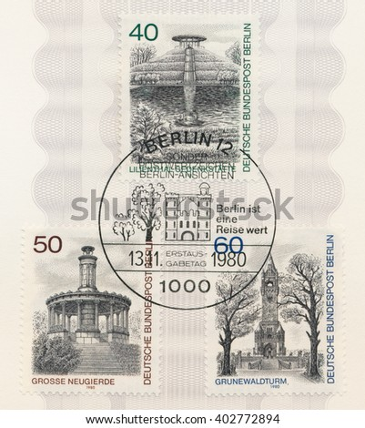 ST. PETERSBURG, RUSSIA - APR 8, 2016: A postmark printed in Germany, shows Lilienthal Memorial. Grosse Neugierde Memorial, 1835. Lookout tower, Grunewald Memorial to Kaiser Wilhelm I, circa 1980 - stock photo