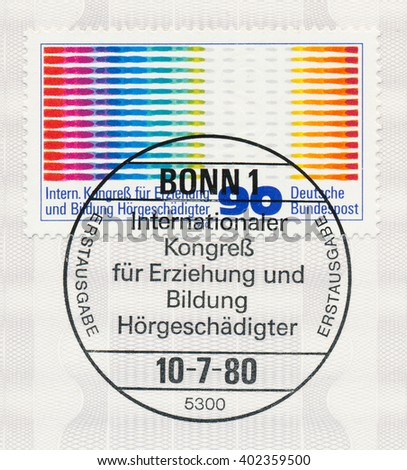ST. PETERSBURG, RUSSIA - APR 7, 2016: A postmark printed in Germany, shows Oscillogram Pulses and Ear. 16th Inter. Congress for the Training and Education of the Hard of Hearing, Hamburg, circa 1980 - stock photo