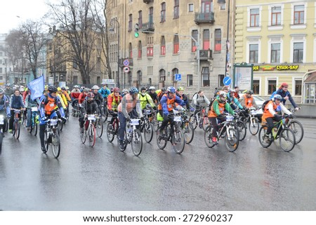 "ST.PETERSBURG, RUSSIA - APRIL 26, 2015: Bike Ride ""Opening the cycling season 2015"". Cycle race on street of St.Petersburg."