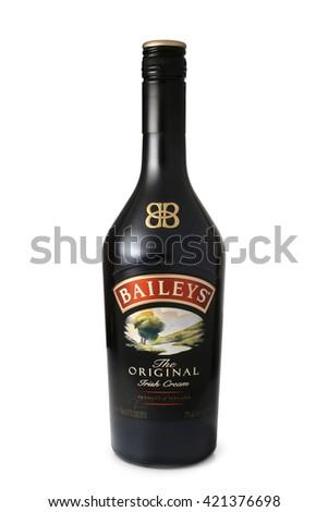 ST. PETERSBURG, RUSSIA - April 30, 2016: Bottle of Baileys Irish Cream, Original, Ireland - stock photo