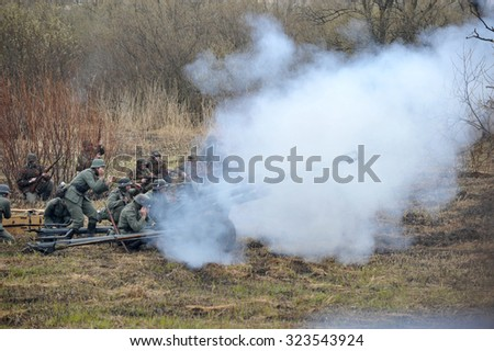 ST. PETERSBURG, RUSSIA - APRIL 26, 2015: military reconstruction battle German troops