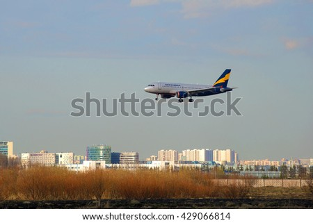 ST. PETERSBURG, RUSSIA - APRIL 16, 2016: The Airbus A319-111 VP-BNB) airlines Donavia on the final approach before landing in Pulkovo airport