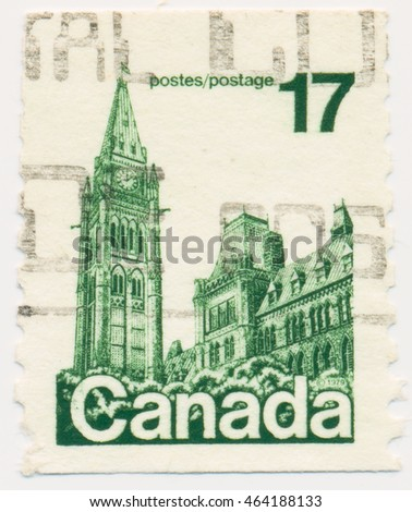 ST. PETERSBURG, RUSSIA - AUGUST 2, 2016: A postmark printed in CANADA, shows Parliament in Ottawa, circa 1979