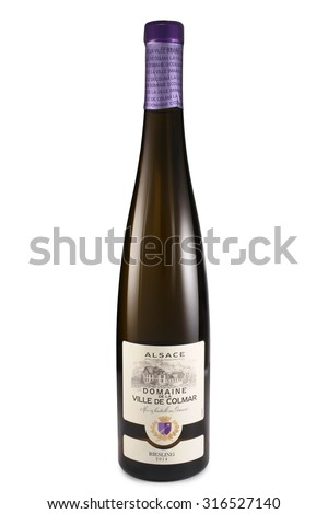 ST. PETERSBURG, RUSSIA - August 30, 2015: Bottle of Domaine de la Ville de Colmar, Riesling, Alsace, France, 2014 - stock photo