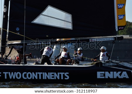 ST. PETERSBURG, RUSSIA - AUGUST 20, 2015: Catamaran of Team Turx of Turkey during 1st day of St. Petersburg stage of Extreme Sailing Series. Red Bull Sailing Team of Austria won the day with 58 points