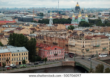 ST. PETERSBURG, RUSSIA - AUGUST 6, 2016: Cityscape with Fontanka river. The Historic Center of Saint Petersburg and Related Groups of Monuments constitute a UNESCO World Heritage Site