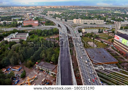 St-Petersburg, Russia -  August 31,  2007:  Construction of cable-stayed bridge across the river Neva, and the ring road, aerial view.