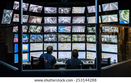 ST PETERSBURG, RUSSIA - AUGUST 8, 2014: Control room of the attraction Grand Russian layout. Is the largest layouts in Russia and the second largest in the world. Opened in 8 July, 2012 - stock photo