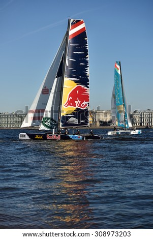 ST. PETERSBURG, RUSSIA - AUGUST 21, 2015: Extreme 40 catamarans during 2nd day of St. Petersburg stage of Extreme Sailing Series. Red Bull Sailing Team of Austria (center) leading after the 1st day