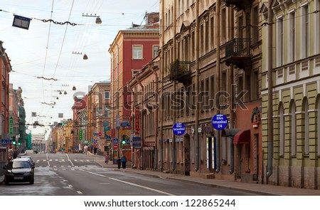 ST.PETERSBURG, RUSSIA - AUGUST 2: Gorohovaya street in historic part of city in August 2, 2012 in St.Petersburg, Russia. The city was founded in 1703, is now the second largest city in Russia