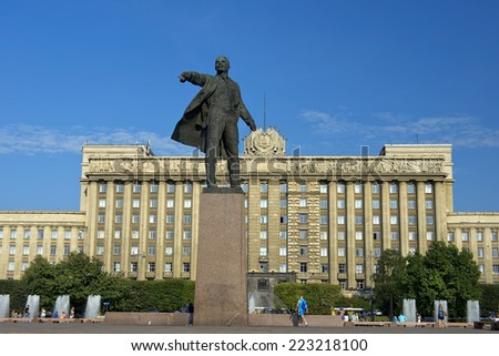 ST. PETERSBURG, RUSSIA - August 11: monument to Lenin, sculptor Anikushin on Moscow Square, against the background the House of Soviets, St Petersburg, Russia, August 11, 2014 - stock photo