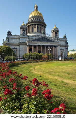 ST. PETERSBURG, RUSSIA - August 10: Saint Isaac cathedral or Isaakievskiy Sobor, architect Auguste de Montferrand, Saint Petersburg, Russia on August 10, 2014. - stock photo