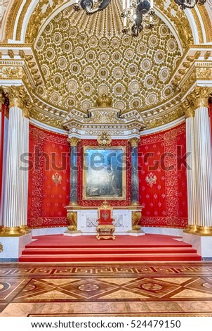 ST. PETERSBURG, RUSSIA - AUGUST 27: Small Throne Hall, Hermitage Museum in St. Petersburg, Russia, August 27, 2016. Hermitage is one of the largest and oldest museums of art and culture in the world