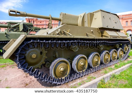 ST. PETERSBURG, RUSSIA - AUGUST 8, 2015: Soviet self-propelled artillery installation of the Su-76 in Museum of Artillery in summer sunny day - stock photo