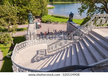 ST.PETERSBURG, RUSSIA - AUGUST 4, 2015: Stairs to the Cameron Gallery of the Catherine Palace at Tsarskoye Selo (Pushkin) - stock photo
