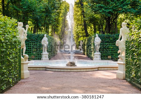 ST PETERSBURG, RUSSIA - AUGUST 30, 2015: Statues of gods and goddess of Roman and Greek mythology in the Summer Garden