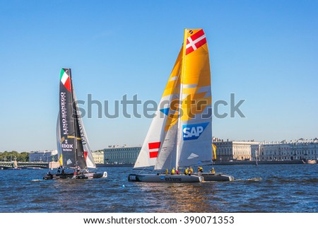 ST. PETERSBURG, RUSSIA - AUGUST 21, 2015: Team Denmark  (SAP) and Team Italy (LinoSonego) on the 6th act of Extreme Sailing Series race.
