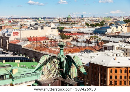 ST.PETERSBURG, RUSSIA - AUGUST 5, 2015: Top view on the City from the observation deck of the St. Isaac's cathedral in summer sunny day