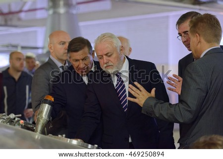 ST. PETERSBURG, RUSSIA - AUGUST 11, 2016: Vice-governor of St. Petersburg Igor Divinsky (center) during his working visit to the Heineken brewery. It can produce over 5 millions HL of beer per year