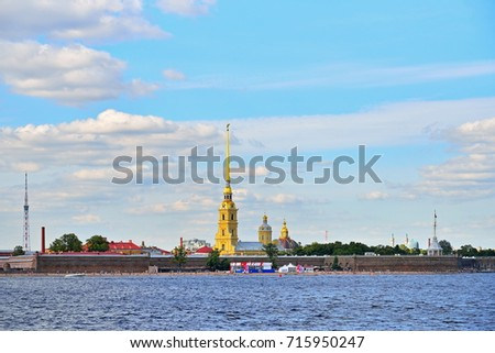 ST.PETERSBURG, RUSSIA - AUGUST 09, 2017:  View of the Peter and Paul fortress from Neva river in Saint-Petersburg